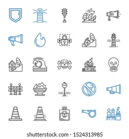 warning icons set. Collection of warning with men only, whistle, poison, traffic cone, cone, speaker, no food, stop sign, fire, traffic barrier. Editable and scalable warning icons.