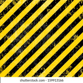 Warning industrial grungy vector background. Diagonal yellow and black stripes. Distressed weathered texture.