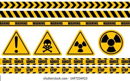 Warning label, warning tape, danger signs vector.
