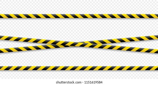 Warning lines. Caution it is dangerous to health. Warning barricade tape, yellow-black, on an isolated background. Vector illustration.