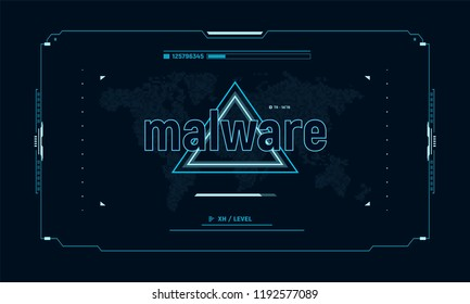 Warning message malware on control panel target screen. Sci-fi user interface. Cyber security concept. Vector illustration.