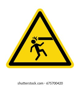 Warning mind your head. Sign, symbol, vector, illustration