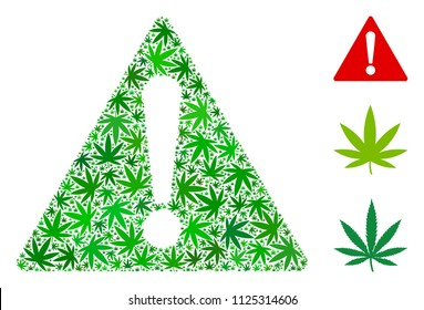 Warning mosaic of hemp leaves in different sizes and green tones. Vector flat hemp icons are composed into warning mosaic. Herbal vector design concept.