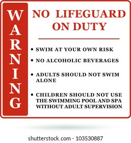 Warning No lifeguard on duty sign vector