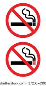 warning No Smoking, no Cigarette sign vector isolated