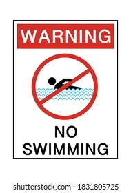 Warning no swimming text with red prohibited sign on white background vector illustration