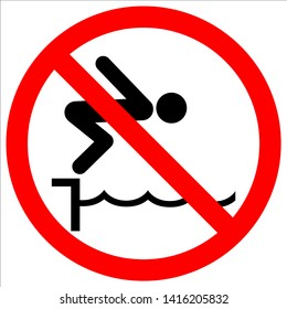 warning notice sign. do not jump pool vector