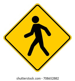 Warning pedestrians, yellow square warning sign with pedestrian symbol, vector illustration.