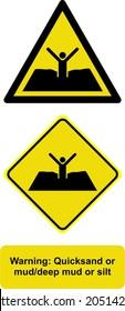 warning warning quicksand or mud deep  mud or silt