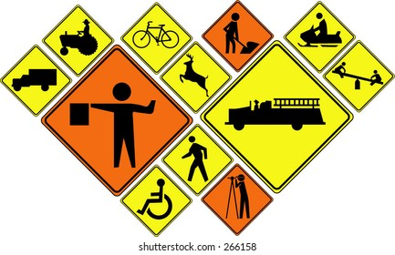 Warning (Road Crossing Signs) work sign (vector is easy to add your own symbol / icon in the sign)