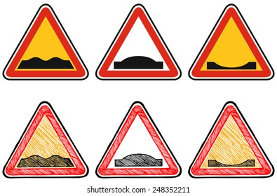 Warning road sign. Doodle style