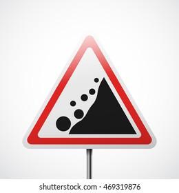 Warning road sign. Falling rocks vector illustration.