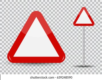 Warning Road Sign on transparent background: Red Triangle. Vector Illustration. EPS10