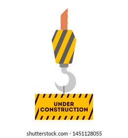 Warning road sign. Orange barrier. Construction works, closed road under construction. Isolated vector illustration in cartoon style