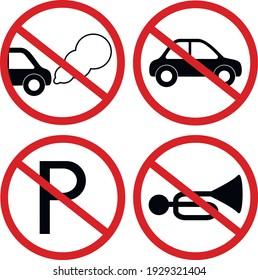 Warning road signs: no idling, no parking, no honking, no car