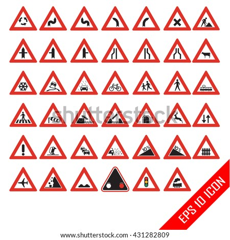 Warning Road Signs Set Triangular Warning Stock Vector Royalty Free