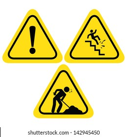 WARNING SAFETY SIGNS (UNDER CONSTRUCTION ROAD SIGN, HAZARD WARNING SIGN WITH EXCLAMATION, FALLING OF THE STAIRS SIGN) VECTOR