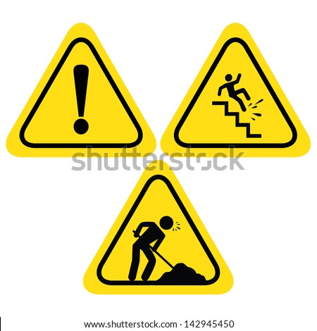 Warning Safety Signs Under Construction Road Stock Vector Royalty