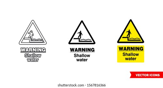 Warning shallow water hazard sign icon of 3 types: color, black and white, outline. Isolated vector sign symbol.