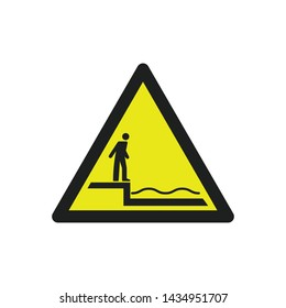 Warning Shallow Water Sign Vector. Water Safety Symbol Vector Icon