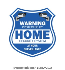 warning sign the area protected by video surveillance. security CCTV camera. vector illustration