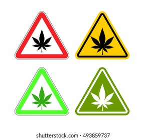 Warning sign attention drugs. Dangers of marijuana and yellow symbol. cannabis leaf on red triangle. Set of road signs