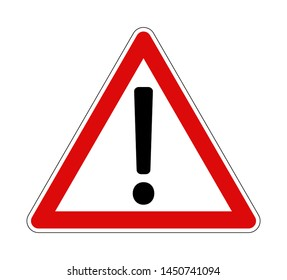 Warning sign with black exclamation mark with red frame with vector illustration