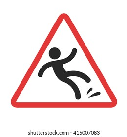 Warning sign, caution wet floor. Falling man in red triangle vector symbol.