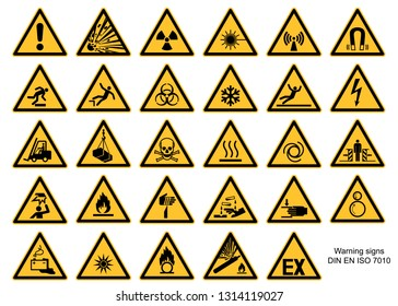 Warning sign collection DIN 7010 and ASR1.3 vector isolated on white background