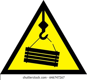 Warning sign for cranes. Falling objects, possible falling load. Vector illustration.