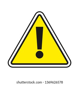 Warning sign. Exclamation sign in yellow triangle. Caution sign. Road sign. Symbol for manual. Web icon.