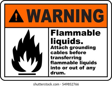 warning sign flammable liquids attach grounding cables before transferring flammable liquids into or out of any drum