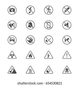Warning sign flat icons
