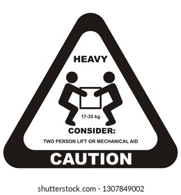 warning sign, handling heavy loads, vector icon