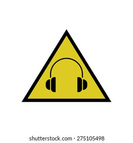 Warning sign high noise levels warning yellow industrial information sticker mockup, headphones icon