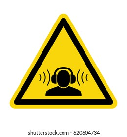 Warning sign high noise levels. Wear earmuffs or ear plugs sign, symbol, vector, illustration