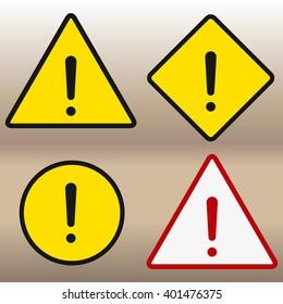 Warning sign icon, isolated on white background, vector illustration.