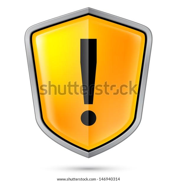 Warning sign icon on shield. Illustration on white