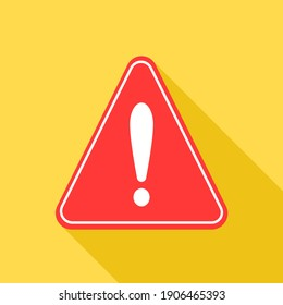 Warning sign icon on yellow background.