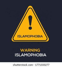 Warning sign (Islamophobia), vector illustration.