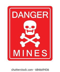 warning sign mines with skeleton head