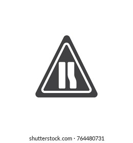 Warning sign narrow road icon vector, filled flat sign, solid pictogram isolated on white. Symbol, logo illustration.