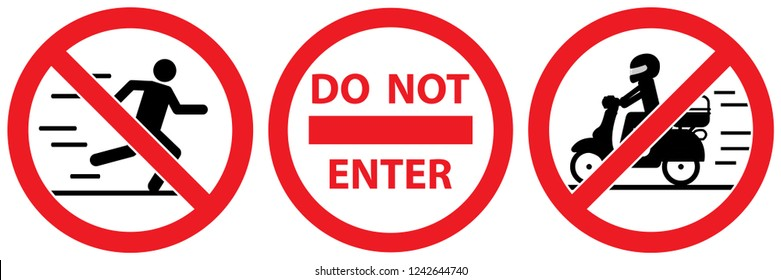 Warning sign ,no man walk and run,do not enter ,no passing motorcycle isolated on white background,warning label vector eps 10.