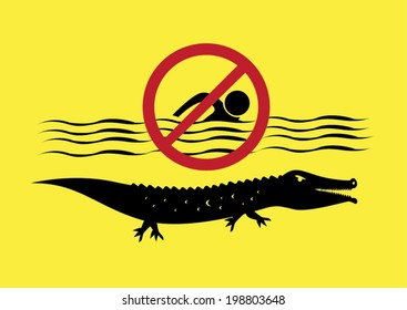 Warning Sign: No Swimming. Crocodile Infested Waters Vector Eps10.