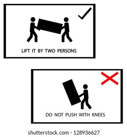 warning sign on the box, lift it by 2 persons ,vector