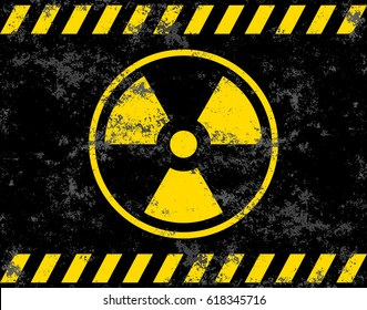 Warning sign. Radiation background radiation. Vector illustrator