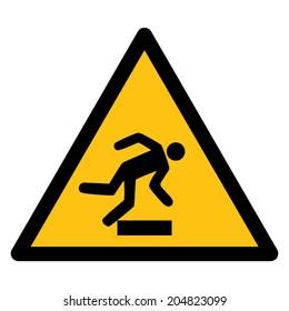 Warning sign RISK OF STUMBLING