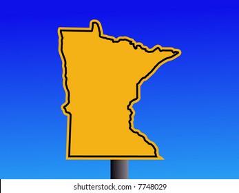 Warning sign in shape of Minnesota on blue illustration