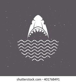 Warning sign, of shark attack, stop swimming. T-shirt graphics. Logo concept. Vector illustration.