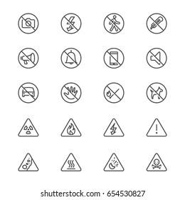 Warning sign thin icons